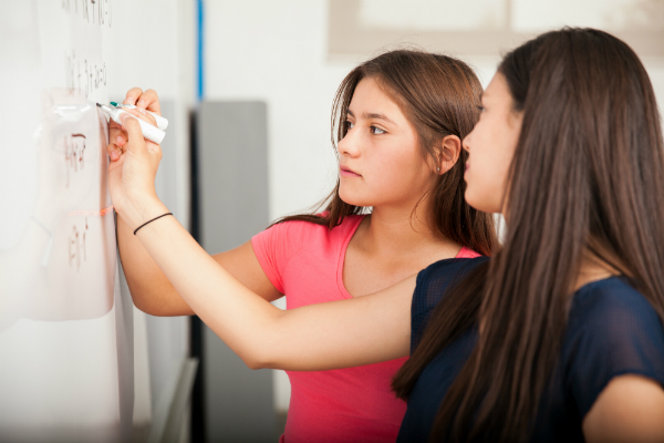 Math Word Problems -Two middle school or early high school students stand at a white paper, completing math equations.