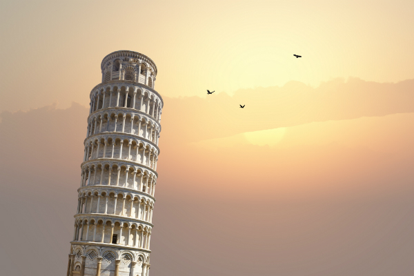 A shot of the Leaning Tower of Pisa in Tuscony, Italy.