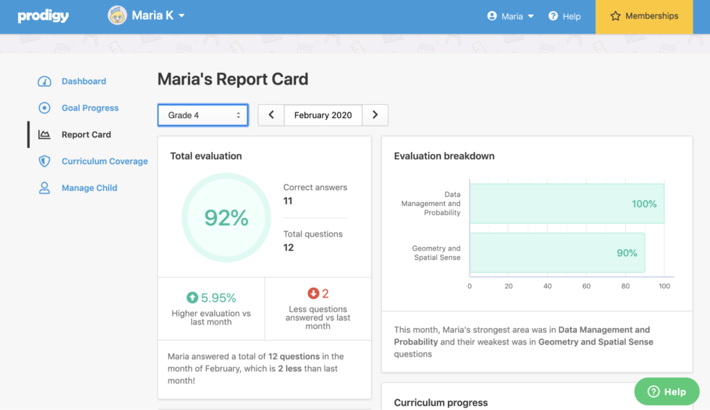 Report card view of parent account in Prodigy.