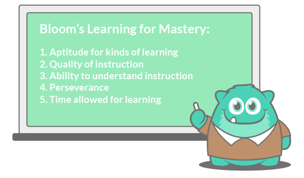 Bloom's Learning for Mastery has five key components that promote mastery learning