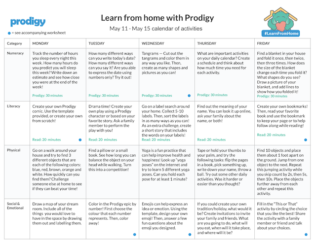 Prodigy's weekly Learn From Home calendar to help you schedule your week with your child.