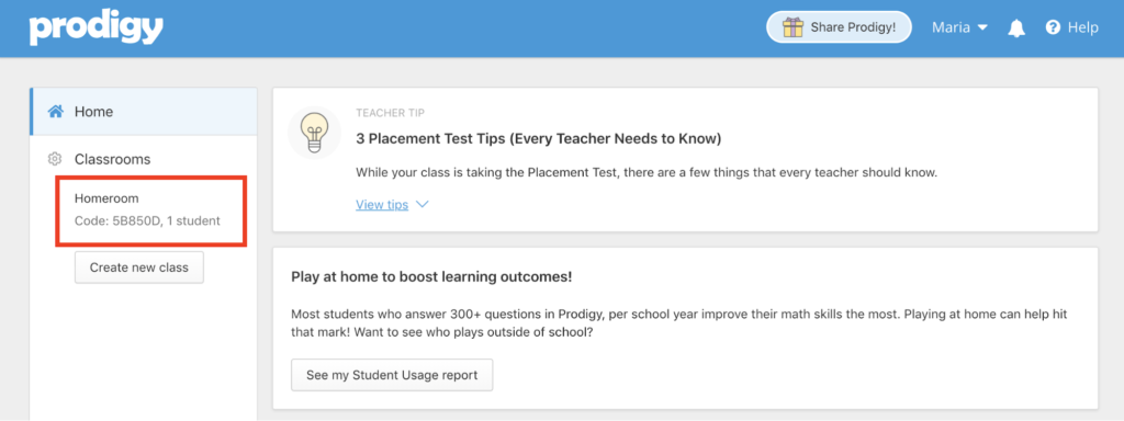 Find your class code on the left side of your teacher homepage
