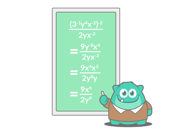 simplify negative exponents